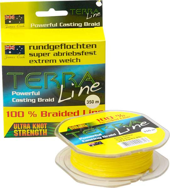 James Cook Terra Line 0,10mm 200m fluo-yellow 4,3kg, geflochtene Angelschnur